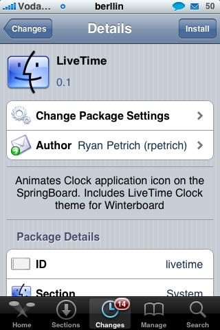 Live Time. El icono del reloj del iPhone con movimiento de las manecillas y hora real