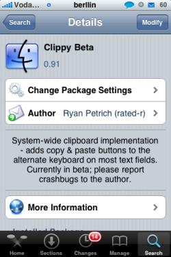 Clippy. Copiar y pegar en el iPhone