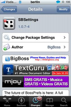 SBSettings 1.0.7-4. Actualización en Cydia