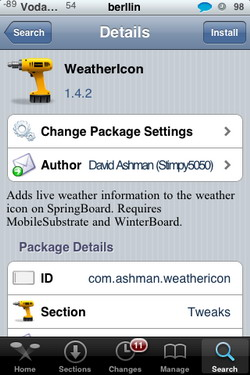 Weathericon 1.4.2 - La temperatura y el tiempo real en el icono de tu iPhone