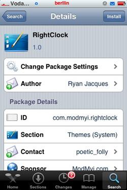 RightClock 1.0 - Lateraliza la hora de la barra de estado del iPhone