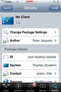 No Clock 1.0 - Elimina la hora de la barra de estado en el iPone
