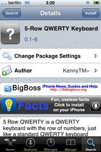 5-Row QWERTY Keyboard, cinco filas en el teclado del iPhone / iPod Touch