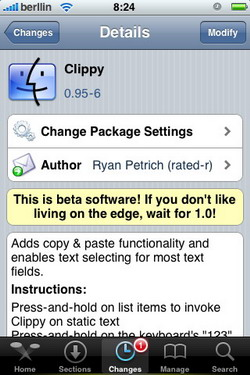 Clippy 0.95-6 - Actualización - Cydia - iPhone / Touch