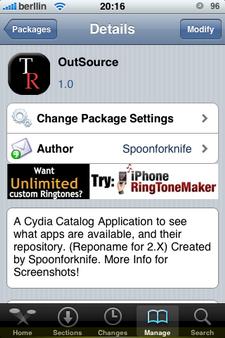Outsource, aplicación que realiza el seguimiento de las aplicaciones y sources en Cydia para el iPhone / iPod Touch