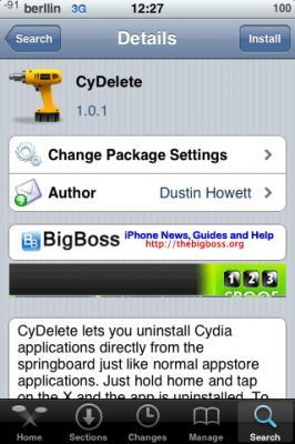 CyDelete, para eliminar las aplicaciones de Cydia con un toque en los iconos del iPhone / iPod Touch